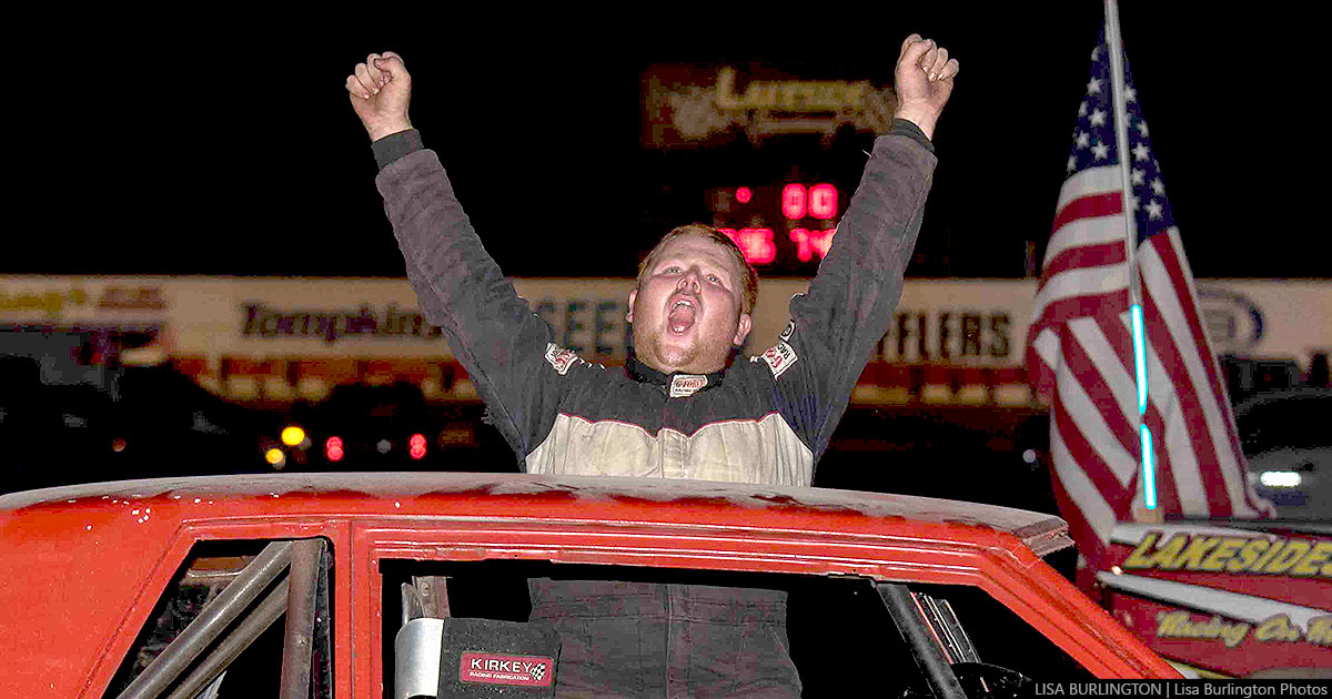 Leroy Morrison celebrates after winning his first Pure Stock main event of the season. (Lisa Burlington photo)