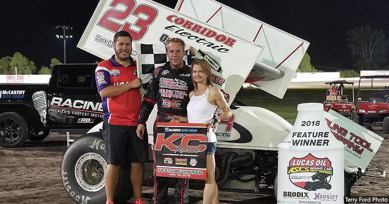 Seth Bergman of Snohomish, Wash., captured the Lucas Oil American Sprint Car Series main event on Thursday, May 10, at the Lakeside Speedway in Kansas City, Kan.