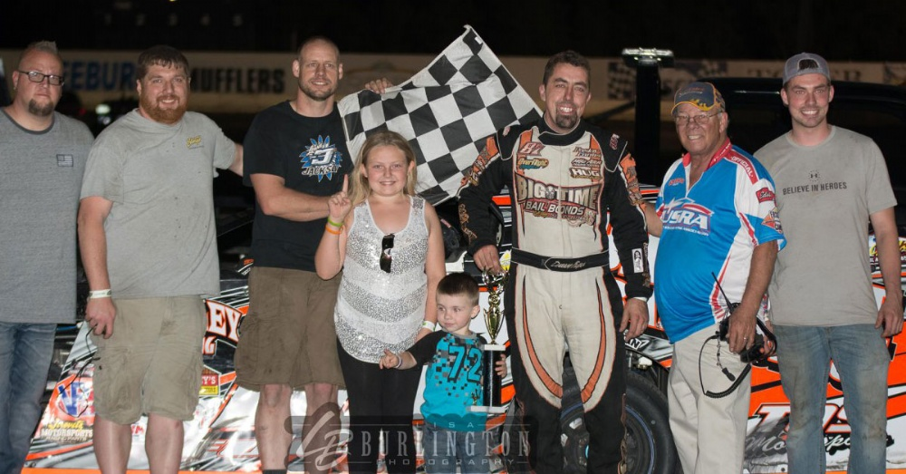 Darron Fuqua won the USRA Modified main event on Friday, May 11, at the Lakeside Speedway in Kansas City, Kan.